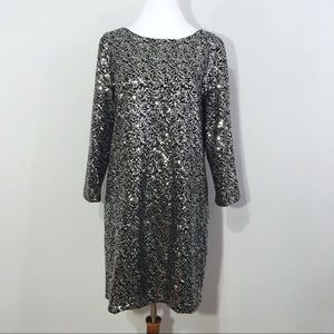 Tahari Long Sleeve Silver Sequin Sheath Dress S